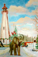 Jumbo Visits The Port Burwell Lighthouse by Paul Schleusner
