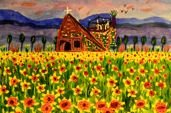 Field Of Colourful Sunflowers (Mixed Media Painting)