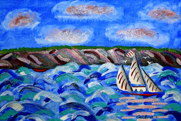 Scooner & The Red Canoe (Mixed Media)