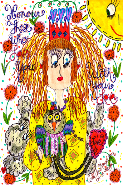 Honour Those Who Love You With Your Love Doodle Art