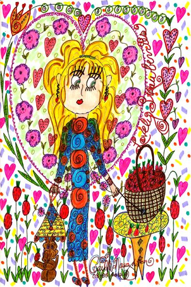 Lovely Strawberries Doodle Art