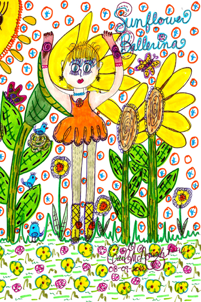 Sunflower Ballerina Doodle Art