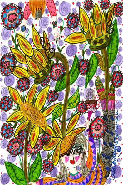 Enjoy A Cup Of Sunflower Tea Doodle Art