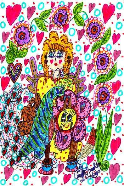 Peacock & Friends Tea Party Doodle Art