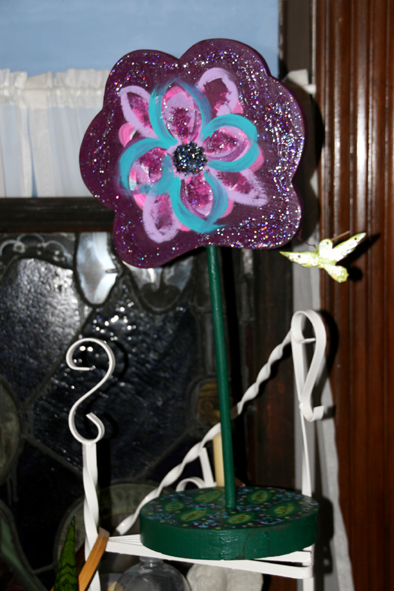 Purple Sparkly Joyful Flower In Its New Home