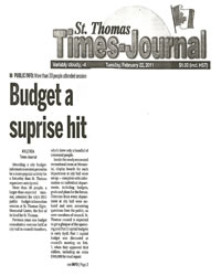 Budget A Surprise Hit - St. Thomas Times Journal - February 22, 2011