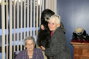 Evelyn, Gail holding Fleecy, Valentine's Day